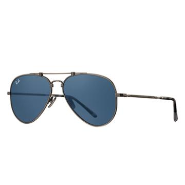 Ray-ban Aviator Titanium Pewter Sunglasses, Blue Lenses - Rb8125
