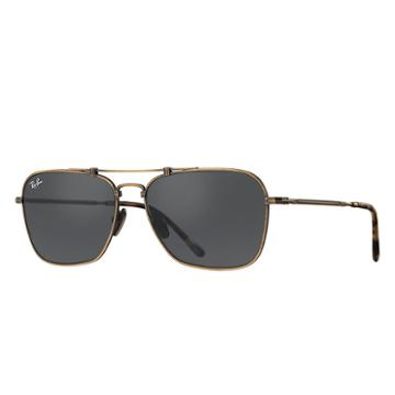 Ray-ban Caravan Titanium Gold Sunglasses, Gray Lenses - Rb8136
