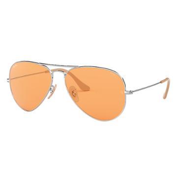 Ray-ban Men's Aviator Evolve Silver Sunglasses, Orange Lenses - Rb3025