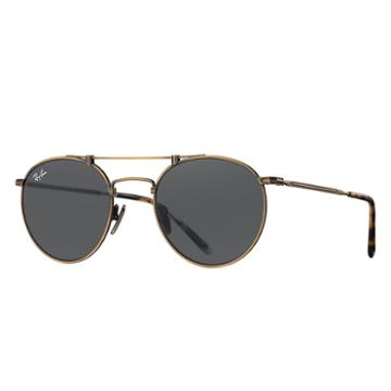 Ray-ban Round Titanium Gold Sunglasses, Gray Lenses - Rb8147