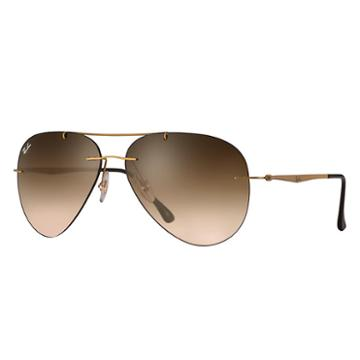 Ray-ban Aviator Light Ray Gold Sunglasses, Brown Lenses - Rb8055