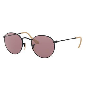 Ray-ban Men's Round Evolve Black Sunglasses, Violet Lenses - Rb3447