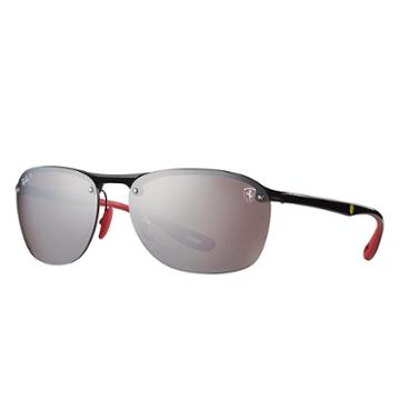 Ray-ban Scuderia Ferrari Collection Black Sunglasses, Polarized Gray Lenses - Rb4302m
