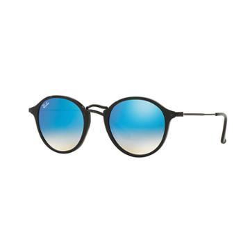 Ray-ban Round Fleck Black Sunglasses, Blue Flash Lenses - Rb2447