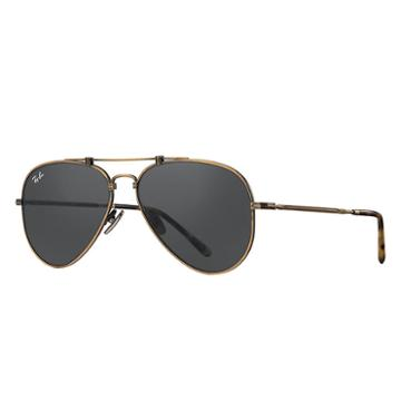 Ray-ban Aviator Titanium Gold Sunglasses, Gray Lenses - Rb8125