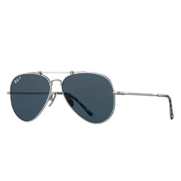 Ray-ban Aviator Titanium Matte Silver Sunglasses, Polarized Blue Lenses - Rb8125m
