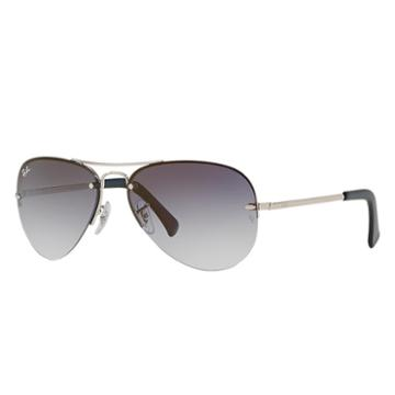 Ray-ban Silver Sunglasses, Blue Lenses - Rb3449