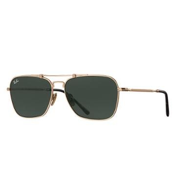 Ray-ban Caravan Titanium White Gold Sunglasses, Green Lenses - Rb8136
