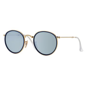 Ray-ban Round Folding Gold Sunglasses, Gray Lenses - Rb3517