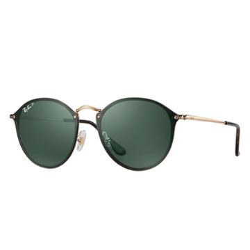 Ray-ban Blaze Round Gold Sunglasses, Polarized Green Lenses - Rb3574n