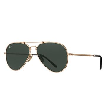 Ray-ban Aviator Titanium White Gold Sunglasses, Green Lenses - Rb8125