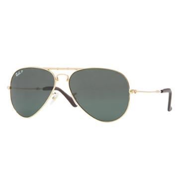 Ray-ban Aviator Folding Ultra Gold Sunglasses, Polarized Green Lenses - Rb3479kq
