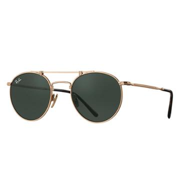 Ray-ban Round Titanium White Gold Sunglasses, Green Lenses - Rb8147