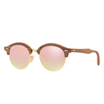 Ray-ban Clubround Wood Brown Sunglasses, Pink Lenses - Rb4246m