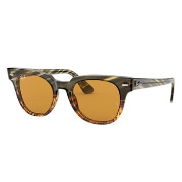 Ray-ban Meteor Striped Havana Green Sunglasses, Yellow Lenses - Rb2168