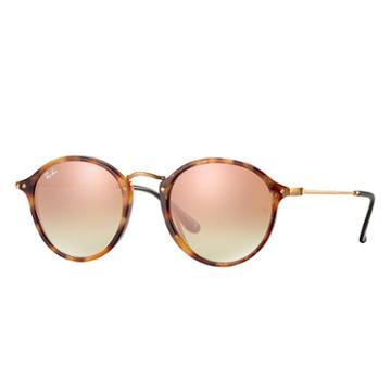 Ray-ban Round Fleck Black Sunglasses, Pink Flash Lenses - Rb2447
