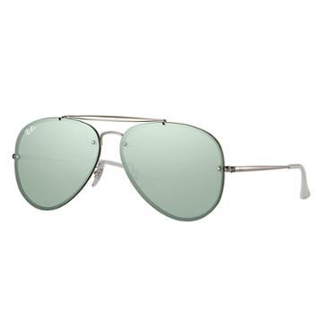 Ray-ban Blaze Aviator Silver Sunglasses, Green Lenses - Rb3584n