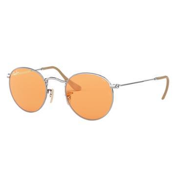 Ray-ban Men's Round Evolve Silver Sunglasses, Orange Lenses - Rb3447