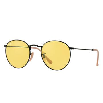 Ray-ban Men's Round Evolve Black Sunglasses, Yellow Lenses - Rb3447