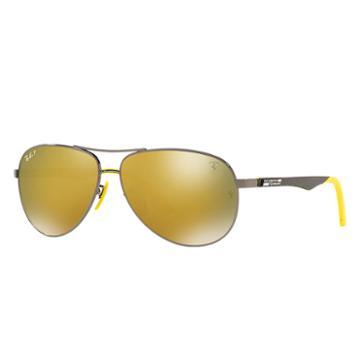 Ray-ban Scuderia Ferrari Singapore Limited Edition Black Sunglasses, Polarized Yellow Lenses - Rb8313m