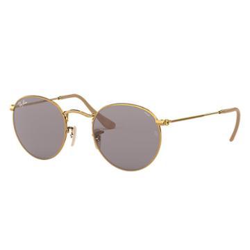 Ray-ban Men's Round Evolve Gold Sunglasses, Gray Lenses - Rb3447