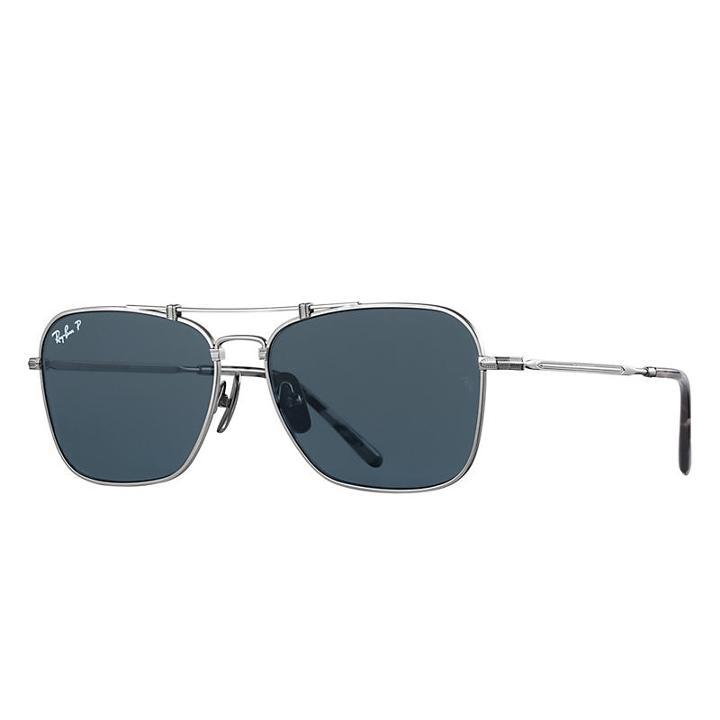 Ray-ban Caravan Titanium Matte Silver Sunglasses, Polarized Blue Lenses - Rb8136m