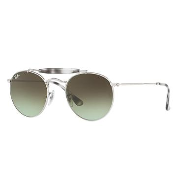 Ray-ban Silver Sunglasses, Green Lenses - Rb3747
