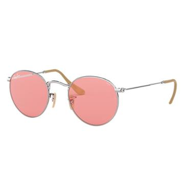 Ray-ban Men's Round Evolve Silver Sunglasses, Pink Lenses - Rb3447