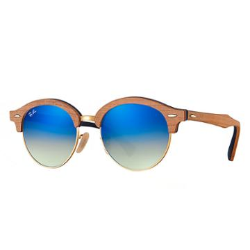 Ray-ban Clubround Wood Brown Sunglasses, Blue Lenses - Rb4246m