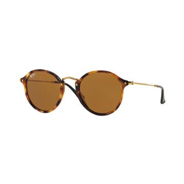Ray-ban Round Fleck Gold Sunglasses, Brown Lenses - Rb2447
