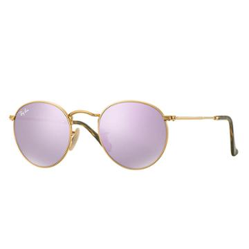 Ray-ban Round Flat Gold Sunglasses, Violet Lenses - Rb3447n