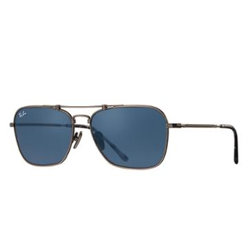 Ray-ban Caravan Titanium Pewter Sunglasses, Blue Lenses - Rb8136