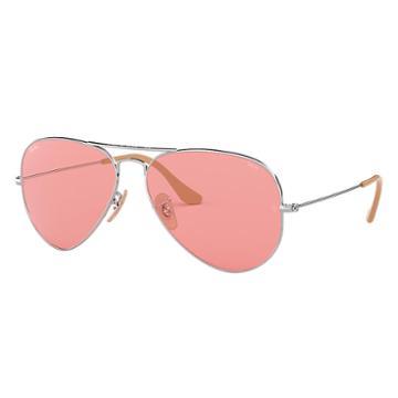 Ray-ban Men's Aviator Evolve Silver Sunglasses, Pink Lenses - Rb3025