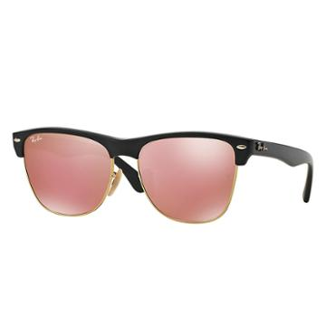 Ray-ban Clubmaster Oversized Black Sunglasses, Pink Flash Lenses - Rb4175