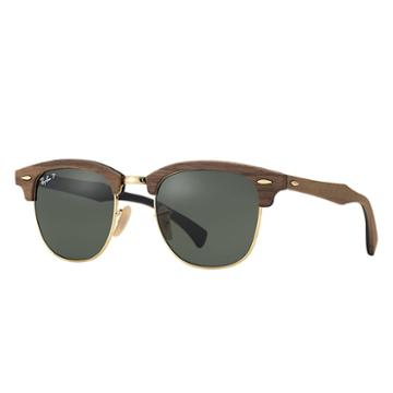 Ray-ban Clubmaster Wood Brown, Polarized Lenses - Rb3016m