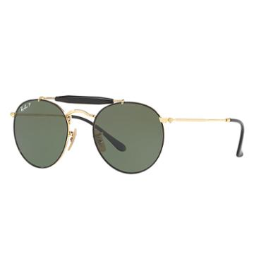 Ray-ban Gold Sunglasses, Polarized Green Lenses - Rb3747
