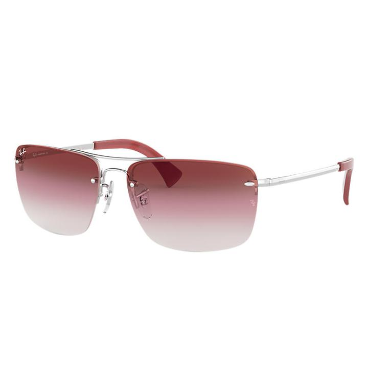 Ray-ban Silver Sunglasses, Red Lenses - Rb3607