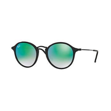 Ray-ban Round Fleck Black Sunglasses, Green Flash Lenses - Rb2447