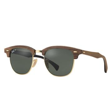Ray-ban Clubmaster Wood Brown Sunglasses, Polarized Green Lenses - Rb3016m