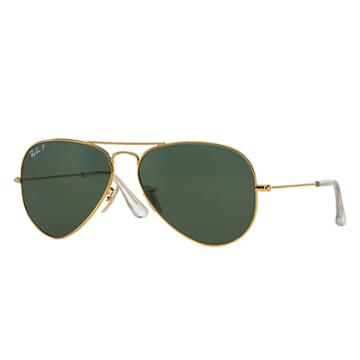 Ray-ban Aviator Solid Gold Gold, Polarized Lenses - Rb3025k