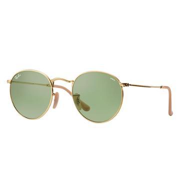 Ray-ban Men's Round Evolve Gold Sunglasses, Green Lenses - Rb3447