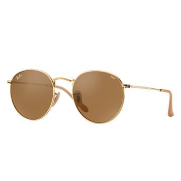 Ray-ban Men's Round Evolve Gold Sunglasses, Brown Lenses - Rb3447