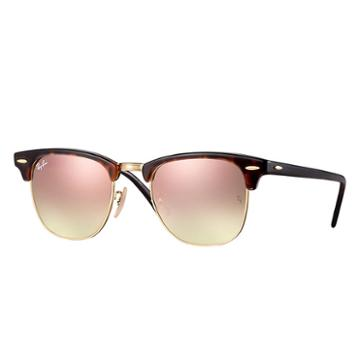 Ray-ban Clubmaster Tortoise Sunglasses, Pink Flash Lenses - Rb3016
