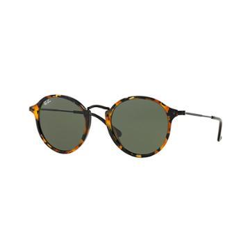 Ray-ban Round Fleck Black Sunglasses, Green Lenses - Rb2447