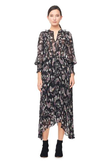 Rebecca Taylor Jewel Paisley Pleated Dress