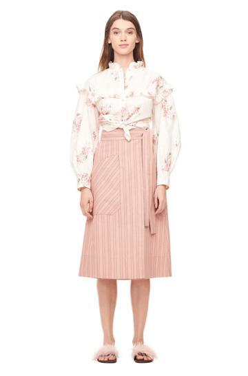 Rebecca Taylor Striped Wrap Skirt