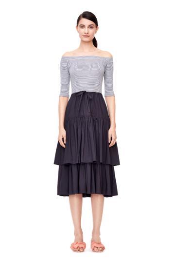 Rebecca Taylor La Vie Off-the-shoulder Rib Jersey & Poplin Dress