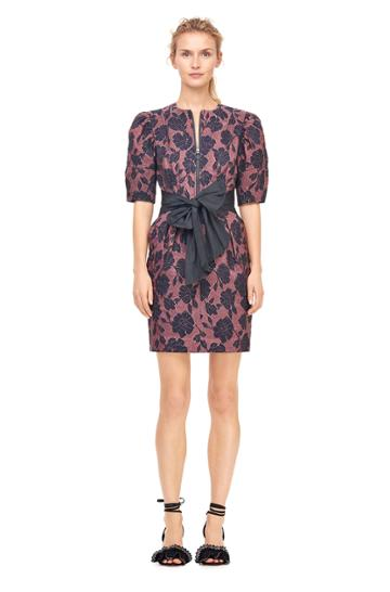 Rebecca Taylor Floral Brocade Dress With Taffeta Bow