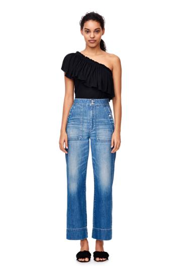 Rebecca Taylor One-shoulder Ruffle Jersey Tee