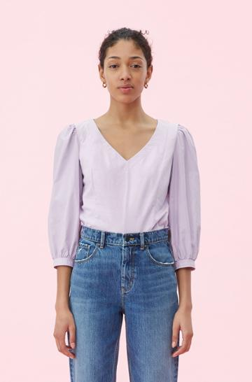 Rebecca Taylor Rebecca Taylor La Vie Poplin Sleeve Jersey Tee Lavender Frost, Size X-small